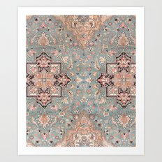 Persian carpet with heriz pattern pink, peach and blue Art Print