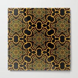 Yellow/Gold/Black Pattern Metal Print