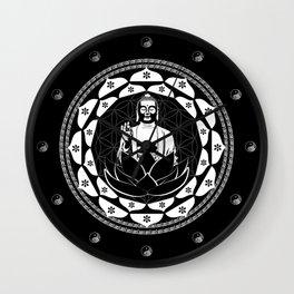 Buddha Black & White Yin & Yang Flower Of Life Wall Clock