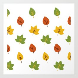 Autumn Minimalist Oak and Maple Leave Falling Art Print