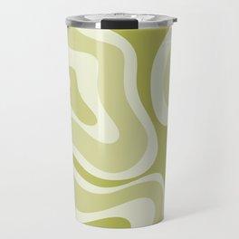 Modern Retro Liquid Swirl Abstract in Light Lime Avocado Green Tones Travel Mug