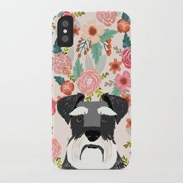 Schnauzer dog head floral background flower schnauzers pet portrait iPhone Case