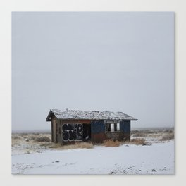 Hopeless, Abandoned, and Alone Under Grey Snow Filled Sky Canvas Print