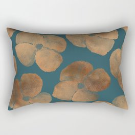 Abstract Metal Copper Flowers on Emerald Rectangular Pillow