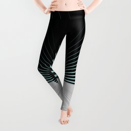 White and Black with Teal Accents Leggings