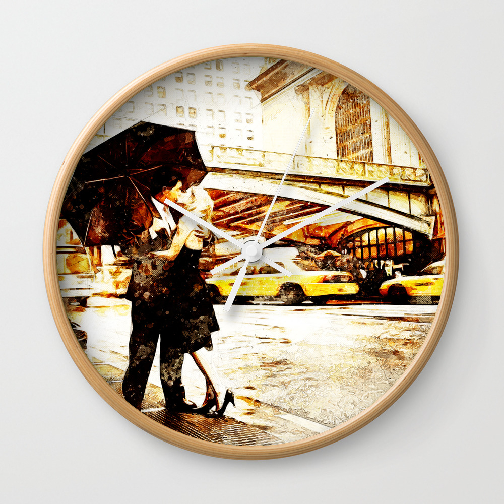 Love In The Rain (loving The Rain) Wall Clock by D77thedigartist CLK8597572