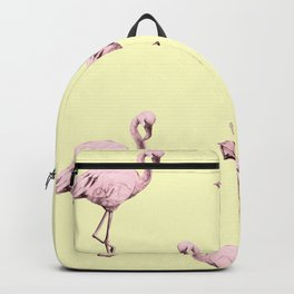 Flamingos in Flamingo Pink on Pale Yellow Backpack
