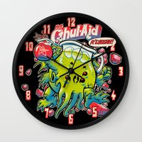 cthulhu Wall Clocks featuring CTHUL-AID by BeastWreck