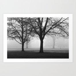 trees in fog II Art Print