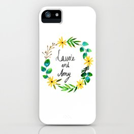 Little Women Amy and Laurie Flower Wreath iPhone Case