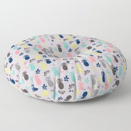 Pineapple and Friends on Pale Grey Pattern Floor Pillow