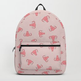 Crazy Happy Uterus in Pink, small repeat Backpack