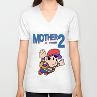 earthbound V-neck T-shirts featuring Mother 2 / Earthbound / Super Mario Bros. 3 Style by Studio Momo╰༼ ಠ益ಠ ༽