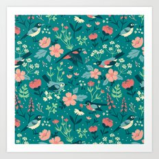 Birds & Blooms (Green) Art Print