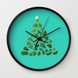 Green Sea Glass Tree on Turquoise #seaglass #Christmas Wall Clock