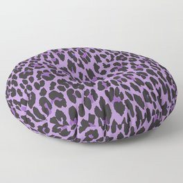 Animal Print, Spotted Leopard - Purple Black Floor Pillow
