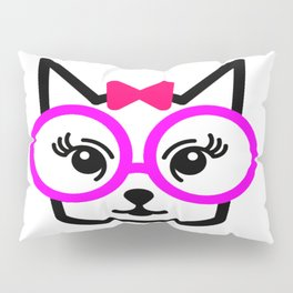 Cute Cat Girl Wearing Glasses Pillow Sham