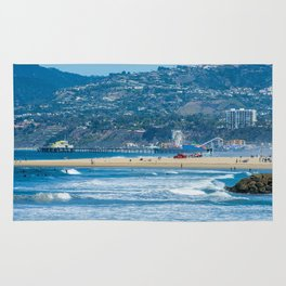 Rare view of Santa Monica, Pier & Pacific Palisades from Venice Pier Rug