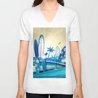 surfboard V-neck T-shirts featuring surfboard  background on sky background by Doomko