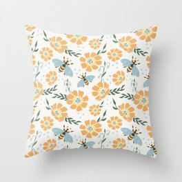 Honey Bees and Orange Flowers Throw Pillow