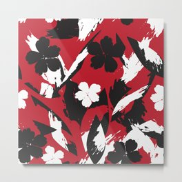 Red Abstract Floral Brush Strokes Pattern Metal Print