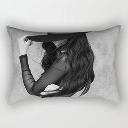 Black hair Rectangular Pillow