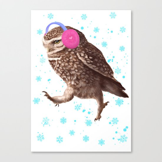 Owl with headphones Canvas Print