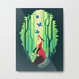 The Fox and the Butterflies Metal Print