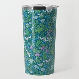 Edelweiss flowers with hellebore and snowdrops on blue background Travel Mug