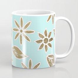 Elegant Mint Blue White Faux Gold Floral Leaves Coffee Mug