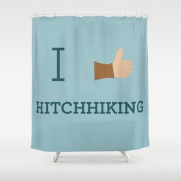 I heart Hitchhiking Shower Curtain