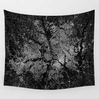 dallas Wall Tapestries featuring Dallas map Texas by Line Line Lines