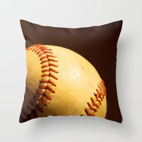baseball Throw Pillows featuring Baseball by Janice Sullivan