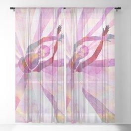Sleeping Ballerina Floral Sheer Curtain