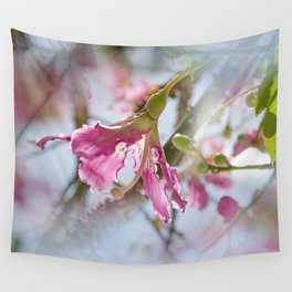 Dreamy Pink Flower Wall Tapestry
