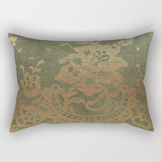 Green Lace Velvet Rectangular Pillow