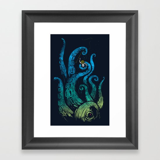 Undersea attack (neon ver.) Framed Art Print