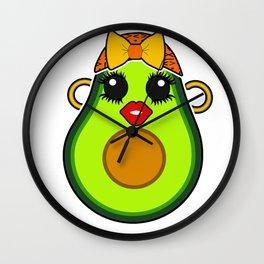 Cute Kawaii Avocado Diva Wall Clock