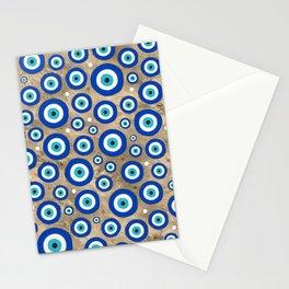 Greek Evil Eye pattern pastel gold background Stationery Cards