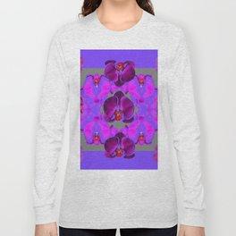 Modern  Abstracted Dark Purple Moth Orchids  Lavender Art Long Sleeve T-shirt