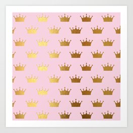 Gold Glitter effect crowns on pink - Royal Pattern for Princesses Art Print