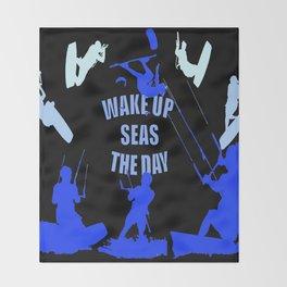 Wake Up Seas The Day Kiteboarder Royal Blue Throw Blanket