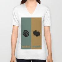 football V-neck T-shirts featuring Football & Football by hensleyandchristensen