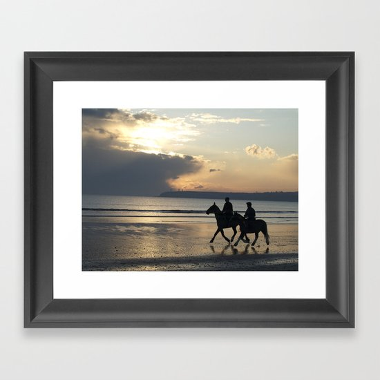 Riders at Sunset - Tramore Beach Framed Art Print