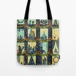 Christmas in the Windows Blue Tote Bag