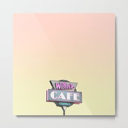 Willees Cafe and Cocktails Neon Sign Metal Print