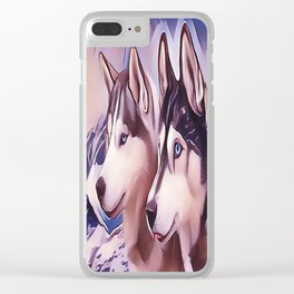 A Pair of Siberian Huskys Clear iPhone Case