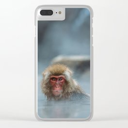 Snow Monkey Bathing Clear iPhone Case
