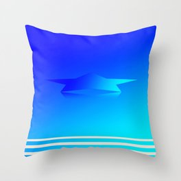 Star Flight Space Carrier - Midnight Navy Blue Turquoise Throw Pillow