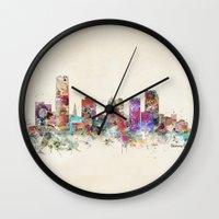 oklahoma Wall Clocks featuring oklahoma city oklahoma by bri.buckley